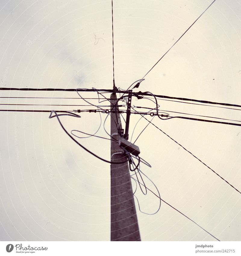 power pole Craftsperson Energy industry Technology High-tech Telecommunications Information Technology Street Old Thrifty Fear Advancement Threat Sustainability