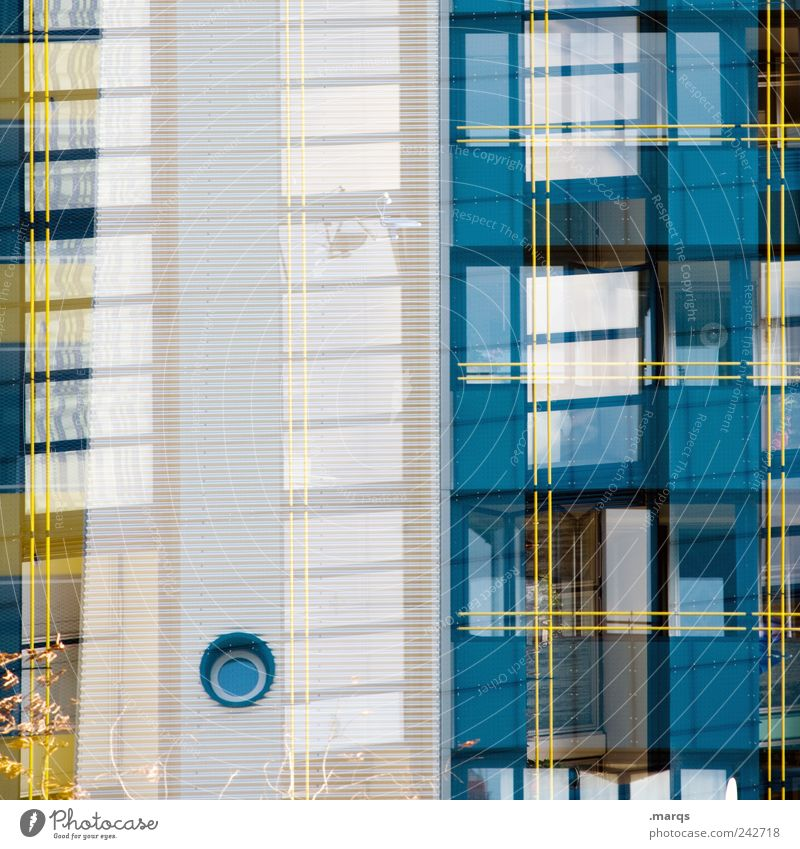 White Blue House (Residential Structure) Yellow Style Window Building Line Architecture Facade Perspective Cool (slang) Living or residing Uniqueness Stripe Exceptional