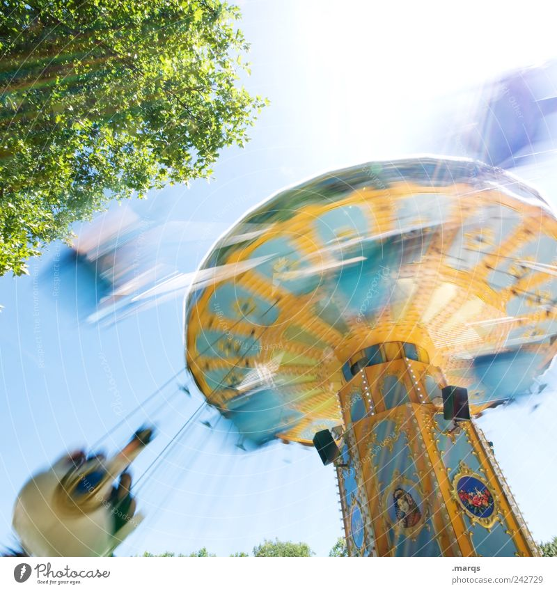 funfair Lifestyle Style Joy Leisure and hobbies Carousel Chairoplane Rotate Exceptional Retro Speed Multicoloured Emotions Happiness Enthusiasm Euphoria