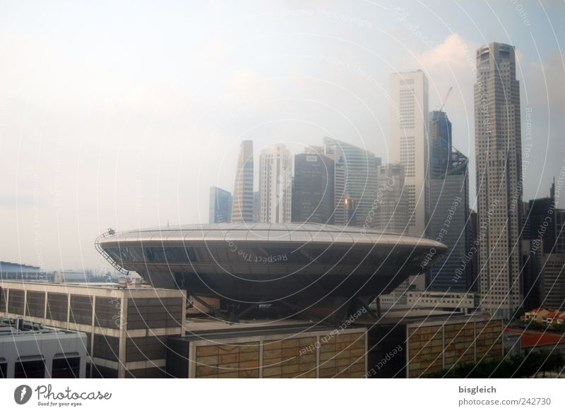 Ufo in Singapore Asia Capital city Port City Downtown Skyline High-rise Roof Gigantic Large Blue Brown Gray UFO Colour photo Subdued colour Exterior shot