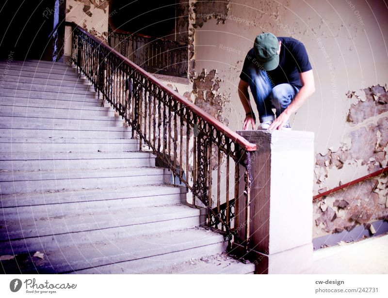 Human being Youth (Young adults) Blue Old Loneliness Black House (Residential Structure) Adults Wall (building) Gray Wall (barrier) Sadness Young man 18 - 30 years Sit Stairs
