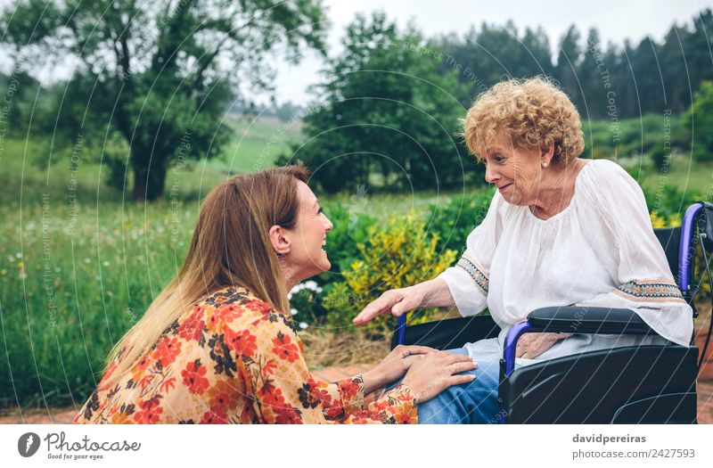 Young woman talking to elderly woman in wheelchair Lifestyle Health care Relaxation Garden To talk Human being Woman Adults Mother Grandmother