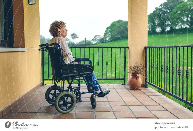 Older woman in a wheelchair Woman Human being Plant Town Tree Relaxation House (Residential Structure) Loneliness Adults Sadness Health care Grass Copy Space
