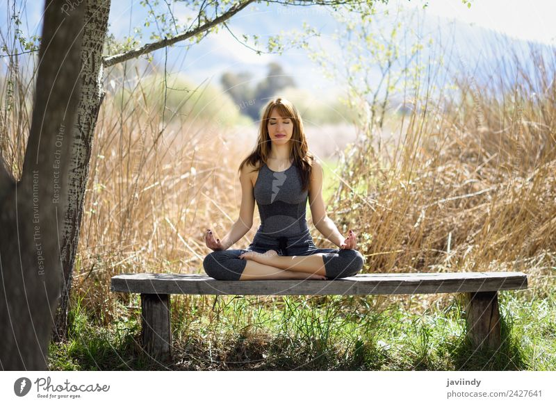 Young woman doing yoga in nature Lifestyle Beautiful Body Relaxation Meditation Summer Sports Yoga Human being Feminine Youth (Young adults) Woman Adults 1