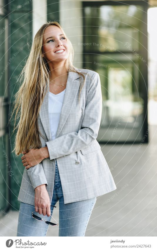 Beautiful young caucasian woman smiling outdoors Woman Human being Youth (Young adults) Young woman White 18 - 30 years Street Adults Lifestyle Autumn Feminine