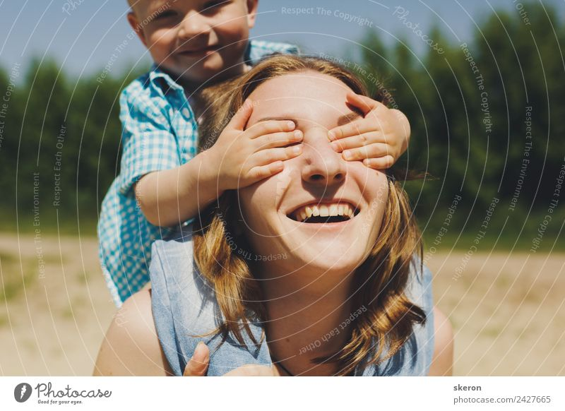 small child closes his eyes happy mother Child Human being Nature Vacation & Travel Youth (Young adults) Young woman Summer Sun Relaxation Calm 18 - 30 years