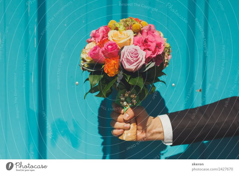 the groom is holding a bouquet of the bride on the textured wall Young man Youth (Young adults) Body Arm Fingers 1 Human being 18 - 30 years Adults Plant Flower
