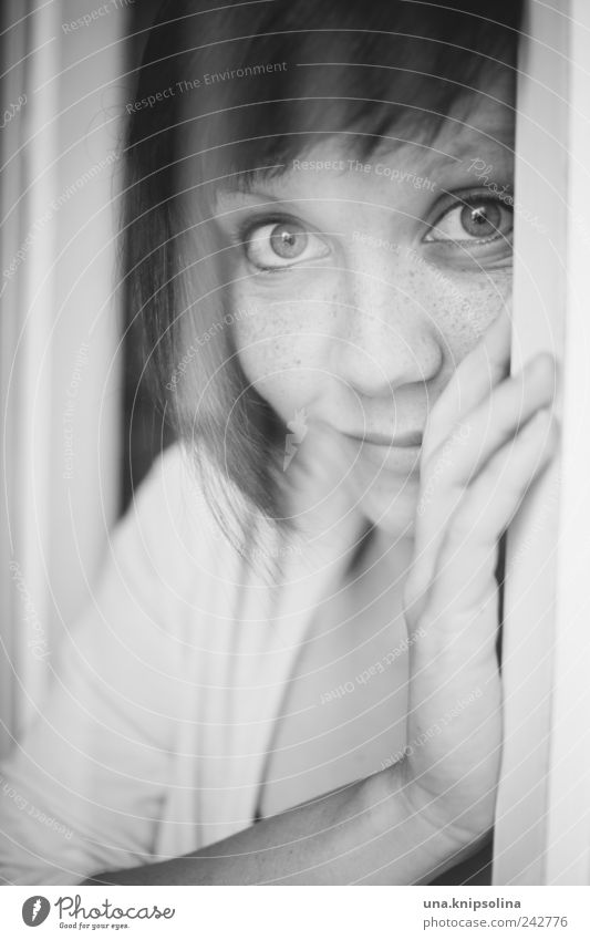 Woman Human being Youth (Young adults) Joy Feminine Emotions Happy Laughter Dream Think Moody Adults Glass Door Happiness Trust