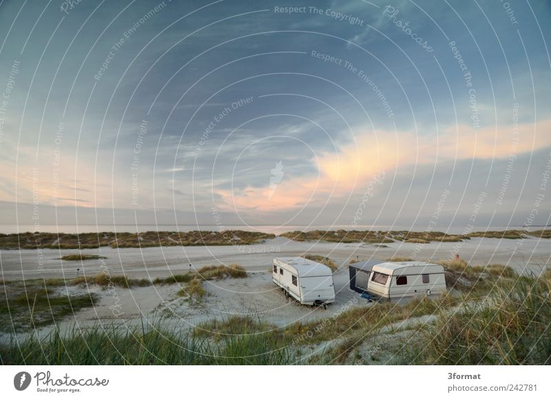 caravans Vacation & Travel Tourism Far-off places Freedom Summer vacation Beach Ocean Dream house Nature Sand Sky Clouds Horizon Beautiful weather Coast