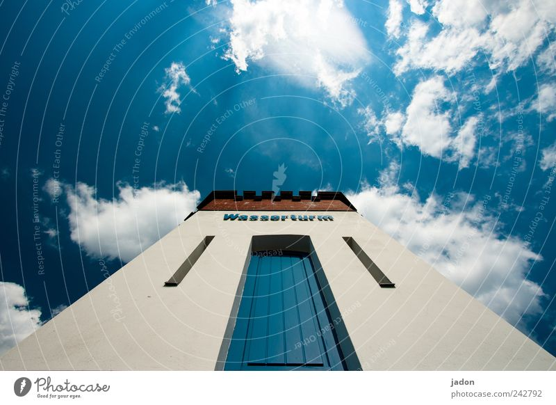Sky Blue Clouds Architecture Door Power Facade Energy industry Tall Large High-rise Living or residing Tower Manmade structures Infinity Vantage point