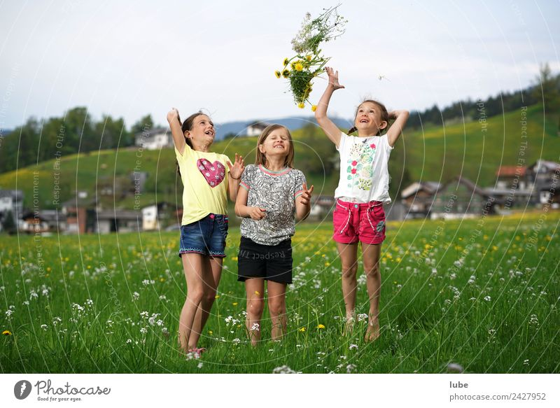 Spring is coming Freedom Girl Infancy 3 Human being 3 - 8 years Child Environment Nature Landscape Meadow Laughter Throw Joy Happy Happiness Bouquet
