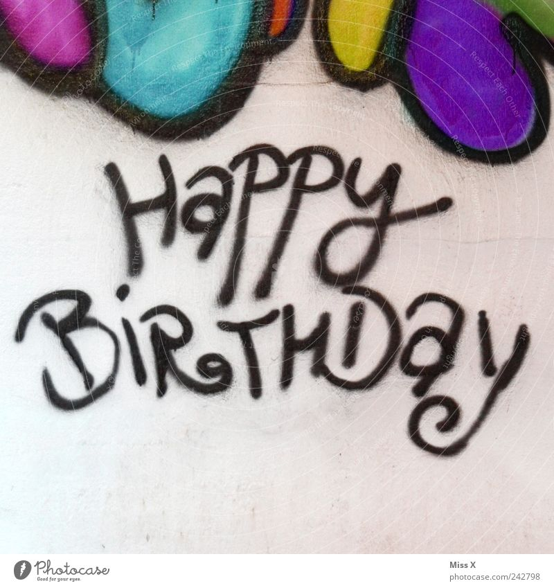 Wall (building) Graffiti Wall (barrier) Feasts & Celebrations Birthday Characters Word Multicoloured Congratulations Street art Happy Birthday Birthday gift