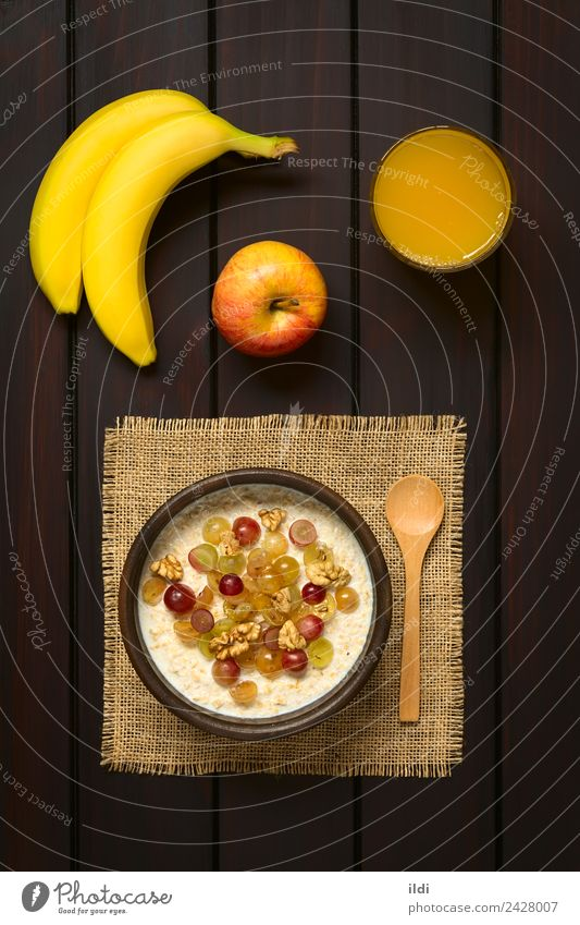 Oatmeal Porridge with Grapes and Walnuts Dish Fruit Fresh Breakfast Meal Vertical Rustic Raw Juice Banana Snack Cereal Dairy