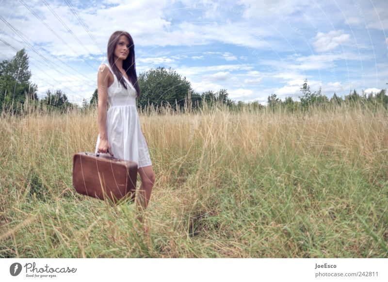 #242811 Lifestyle Style Vacation & Travel Tourism Trip Adventure Far-off places Freedom Woman Adults Nature Landscape Sky Clouds Horizon Field Dress Suitcase
