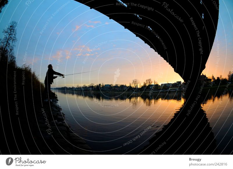 Anglers in the sunset at the Blue Wonder in Dresden Vacation & Travel Fishing (Angle) Sky Sunrise Sunset Lakeside River bank Bridge Esthetic Uniqueness Natural