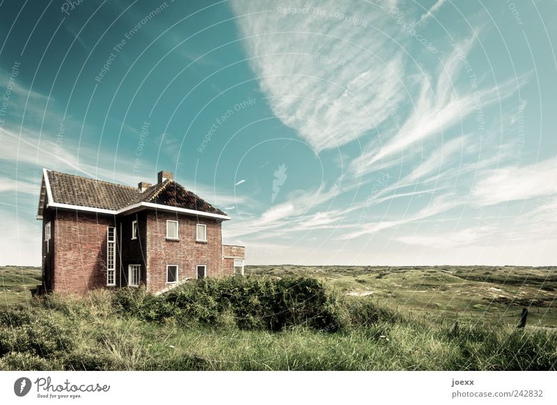 unattached House (Residential Structure) Dream house Garden Sky Clouds Horizon Summer Beautiful weather Meadow Infinity Blue Brown Green Real estate Freedom