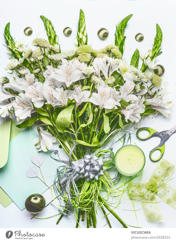 Green bouquet bow and decoration Shopping Style Design Decoration Table Feasts & Celebrations Flower Stationery Paper Bouquet Bow Kitsch Odds and ends Heart