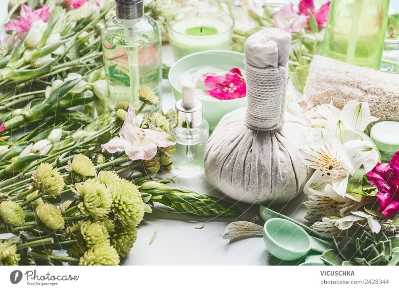 Green cosmetics and spa with flowers Style Design Beautiful Personal hygiene Cosmetics Cream Healthy Health care Medical treatment Wellness Relaxation Spa
