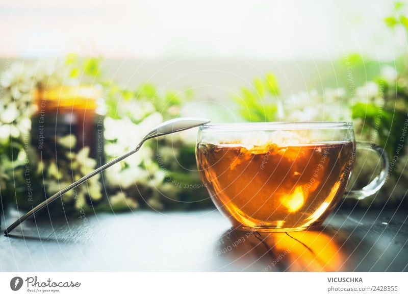 Cup with fresh herbal tea and honey Beverage Hot drink Tea Crockery Lifestyle Style Design Healthy Healthy Eating Living or residing Table Horizontal Herb tea