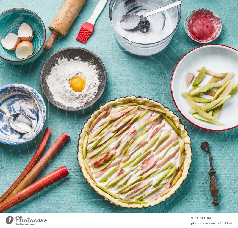 Rhubarb cake on the kitchen table Food Vegetable Fruit Cake Dessert Nutrition Organic produce Vegetarian diet Diet Crockery Style Design Healthy Healthy Eating