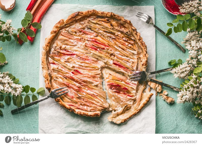 rhubarb cake Food Cake Nutrition Organic produce Crockery Fork Style Design Summer Table Rhubarb Self-made Eating Food photograph Bird's-eye view Colour photo