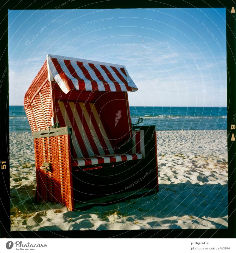 north beach Water Sky Coast Beach Baltic Sea Ocean Prerow Darss Relaxation Red Break Calm Vacation & Travel Beach chair Stripe Colour photo Multicoloured