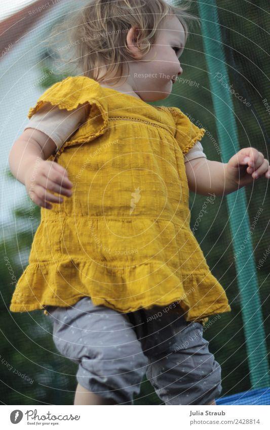 girl toddler trampoline mustard yellow Trampoline Feminine Toddler 1 Human being 1 - 3 years Dance Pants Dress Brunette Blonde Short-haired Yellow Green