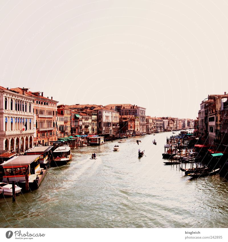 Canal Grande, Venice City trip Italy Europe Port City Old town Motorboat Gondola (Boat) Channel Brown Colour photo Subdued colour Exterior shot Copy Space top