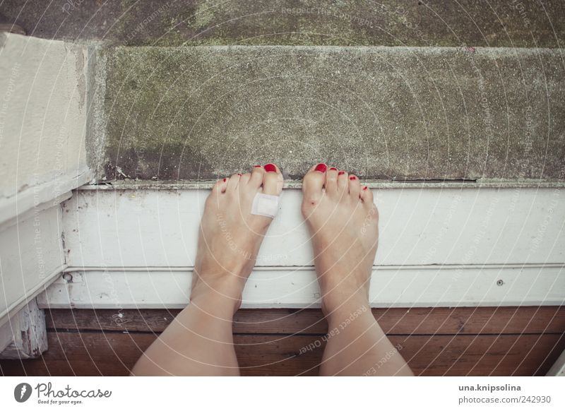 Human being Woman Beautiful Red Adults Feminine Emotions Wood Stone Jump Feet Stand To hold on Balcony Pain Trashy