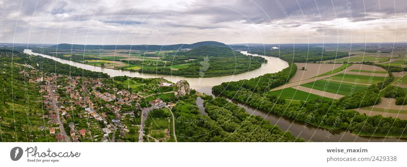 Panoramic aerial view of old fort. Ruins of Devin castle Vacation & Travel Tourism Summer Nature Landscape Earth Clouds Rock River Village Castle Aircraft Stone