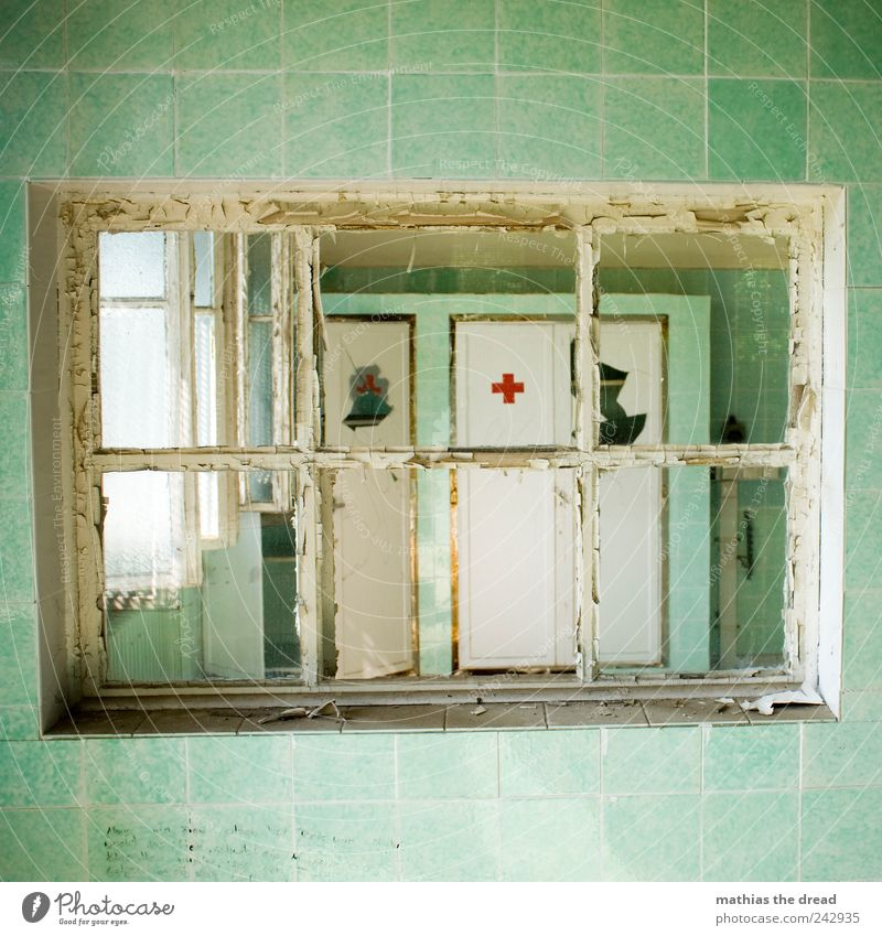 waiting room Deserted Ruin Manmade structures Building Architecture Wall (barrier) Wall (building) Window Old Esthetic Exceptional Threat Dark Sharp-edged