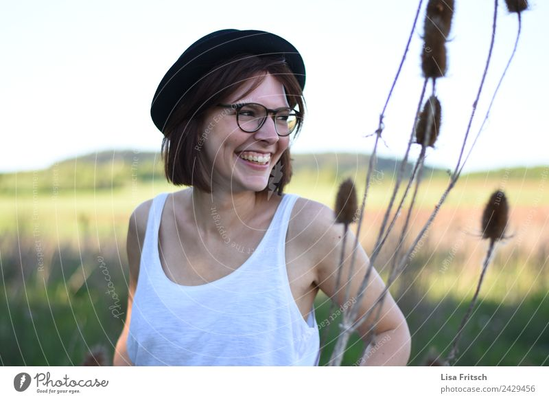 Young, Woman, Glasses, Hat, Nature Beautiful Vacation & Travel Young woman Youth (Young adults) 1 Human being 18 - 30 years Adults Summer Plant Field Eyeglasses