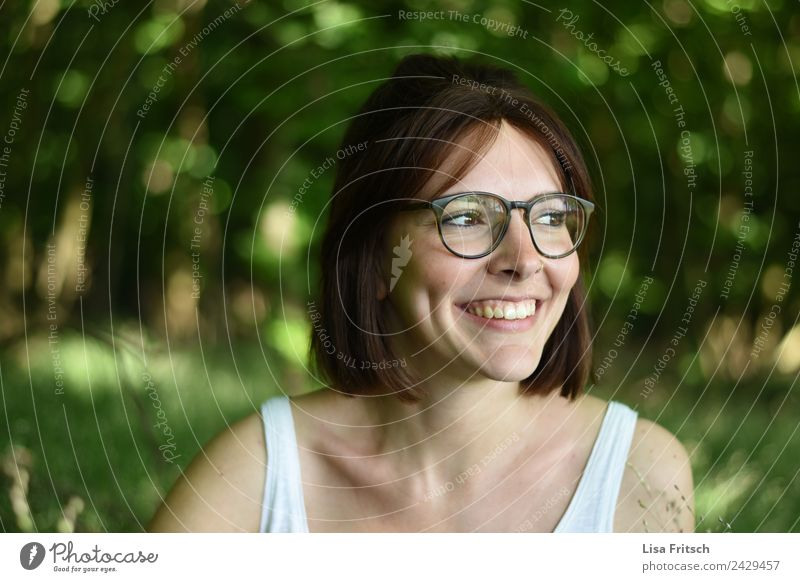young woman, dark-haired, glasses, green Beautiful Healthy Harmonious Well-being Contentment Relaxation Vacation & Travel Young woman Youth (Young adults) Face
