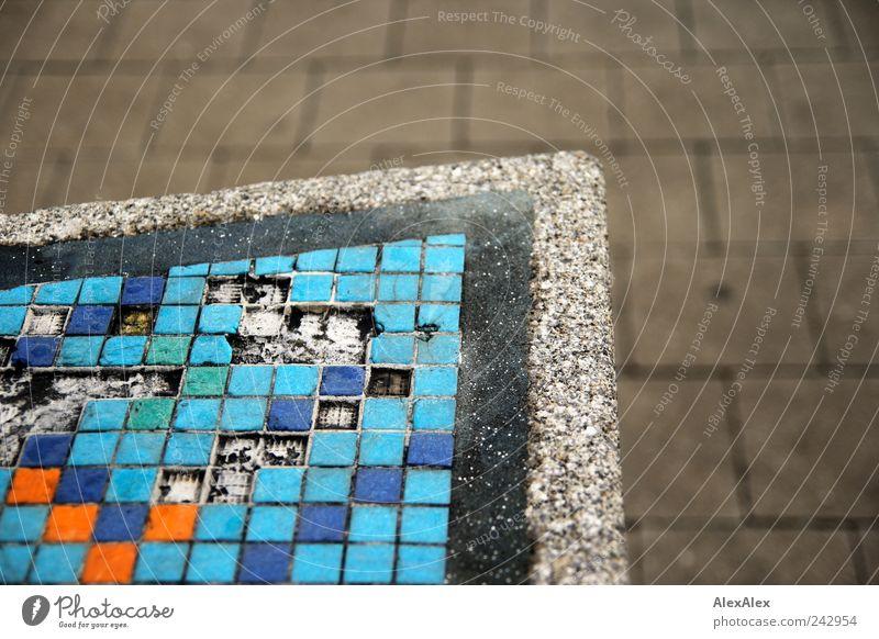 scrabble tiled Tile Corner Concrete Stone Blue Multicoloured Stagnating Scrabble Orange gaps Error Paving tiles Rectangle Triangle Pattern Light blue