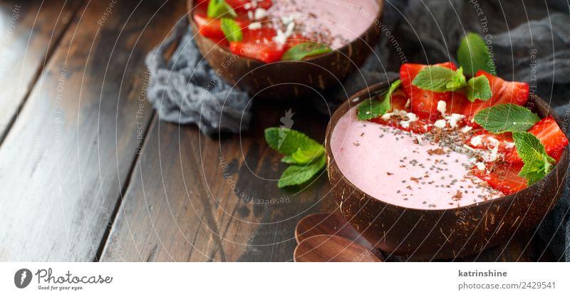 Strawberry smoothie bowls Summer Green White Red Dark Brown Copy Space Pink Fruit Nutrition Fresh Breakfast Dessert Berries Bowl Diet