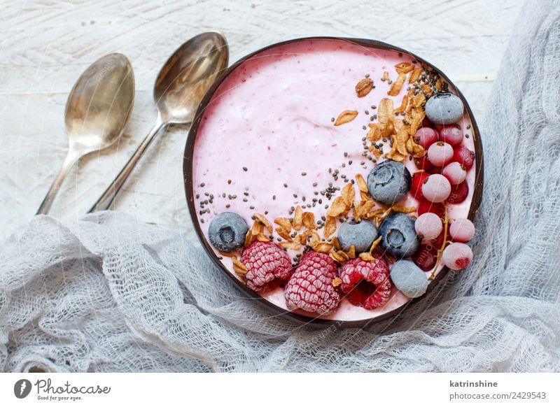 Wild berries smoothie bowls Yoghurt Fruit Dessert Nutrition Breakfast Vegetarian diet Diet Bowl Spoon Summer Fresh Pink Red White background Berries blended