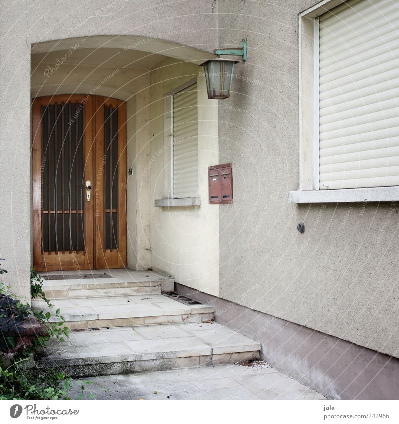 Old Plant House (Residential Structure) Wall (building) Window Architecture Wall (barrier) Building Door Facade Stairs Gloomy Bushes Manmade structures Lantern