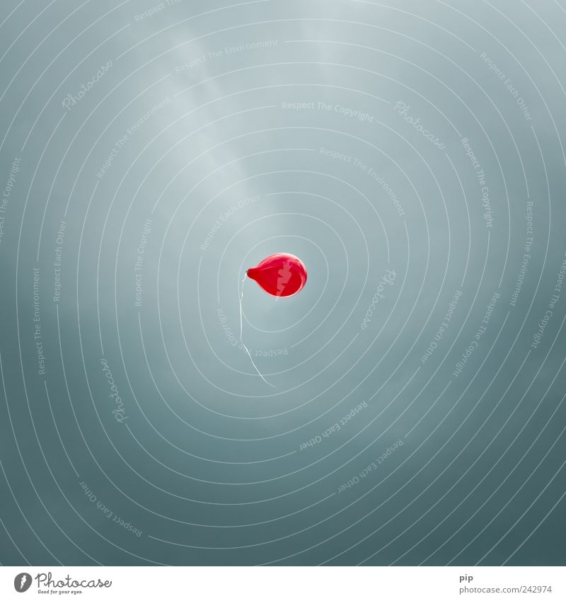 red dot Air Sky Bad weather Balloon String Tall Above Red Flying Go up Release 1 Individual Free Easy Colour photo Abstract Deserted Copy Space left