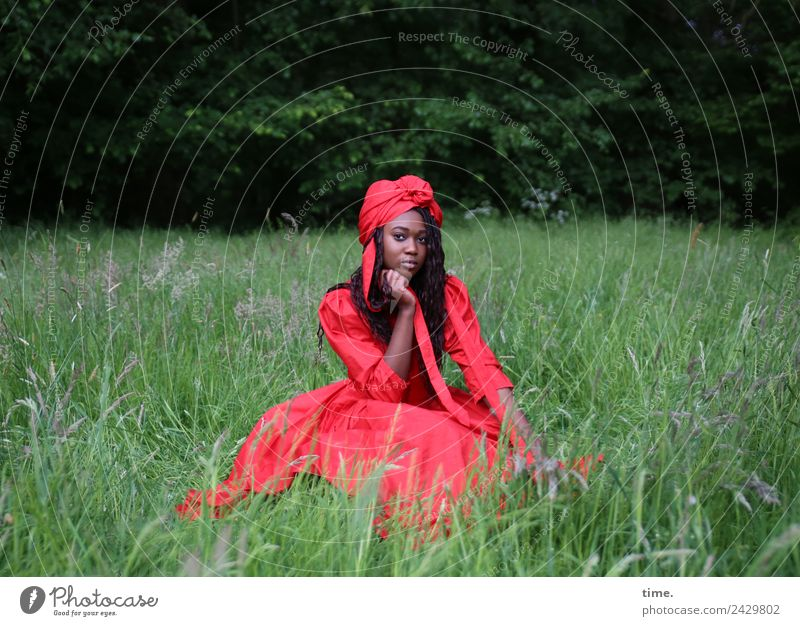 Romancia Feminine Woman Adults 1 Human being Park Meadow Forest Dress Headscarf Brunette Long-haired Curl Observe Think To hold on Looking Sit Beautiful Red