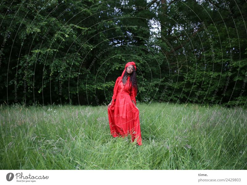 Woman Human being Beautiful Green Red Forest Adults Meadow Feminine Time Going Park Esthetic Stand Beautiful weather Observe