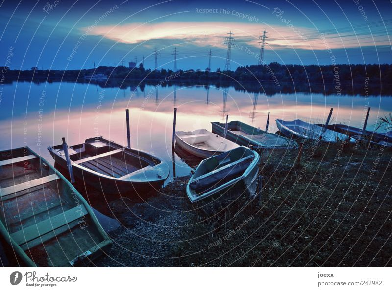 investor's paradise Fishing (Angle) Water Sky Clouds Beautiful weather Lakeside Rowboat Blue Green Pink Calm Idyll Colour photo Subdued colour Exterior shot