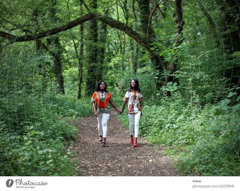 Woman Human being Beautiful Forest Adults Life Lanes & trails Feminine Movement Together Friendship Going Communicate Joie de vivre (Vitality) Attachment Pants