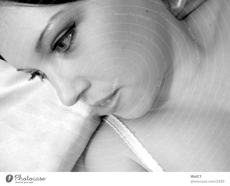 Daydream 01 Woman Underwear Lascivious Black White Portrait photograph Bed Bolster Laundry Lady Black & white photo erotic. erotic. décolleté Neck Face Looking