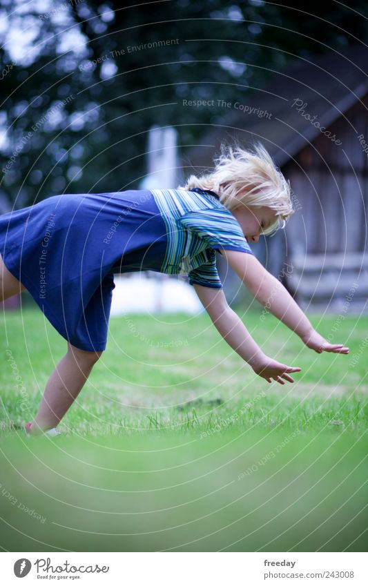 Human being Child Nature Girl Summer House (Residential Structure) Face Environment Life Playing Hair and hairstyles Garden Air Infancy Fear Back