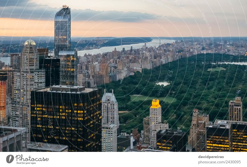 Aerial view of Central Park at dusk in Manhattan, New York City Relaxation Vacation & Travel Tourism Sightseeing Summer Landscape Sky Downtown Skyline High-rise