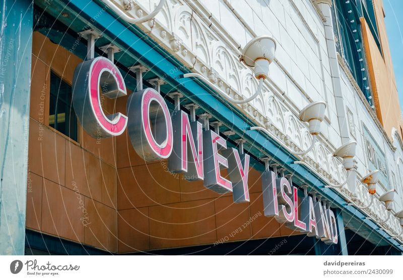 Coney Island entrance sign to subway Vacation & Travel Tourism Beach Downtown Architecture Transport Railroad Underground Line Old New Station coney York urban