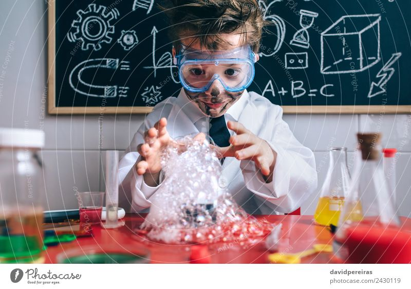 Happy kid making experiments with soap foam Face Playing Flat (apartment) Table Science & Research Child School Classroom Blackboard Laboratory Human being