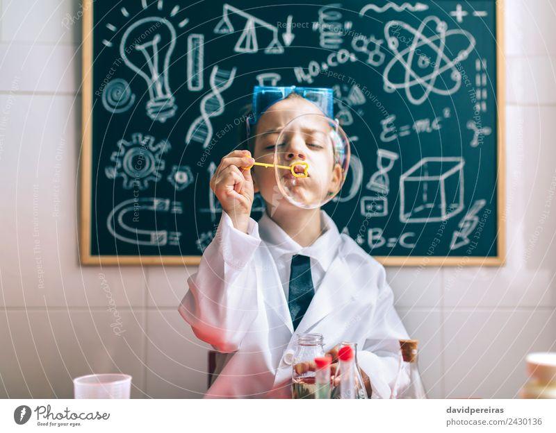Kid doing soap bubbles against of drawn blackboard Joy Happy Playing Flat (apartment) Science & Research Child School Classroom Blackboard Laboratory