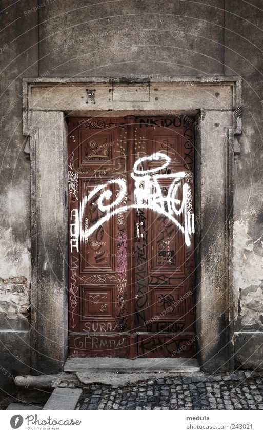 Old Wall (building) Wall (barrier) Art Gray Exceptional Freedom Brown Facade Leisure and hobbies Door Uniqueness Youth culture Cool (slang) Infinity