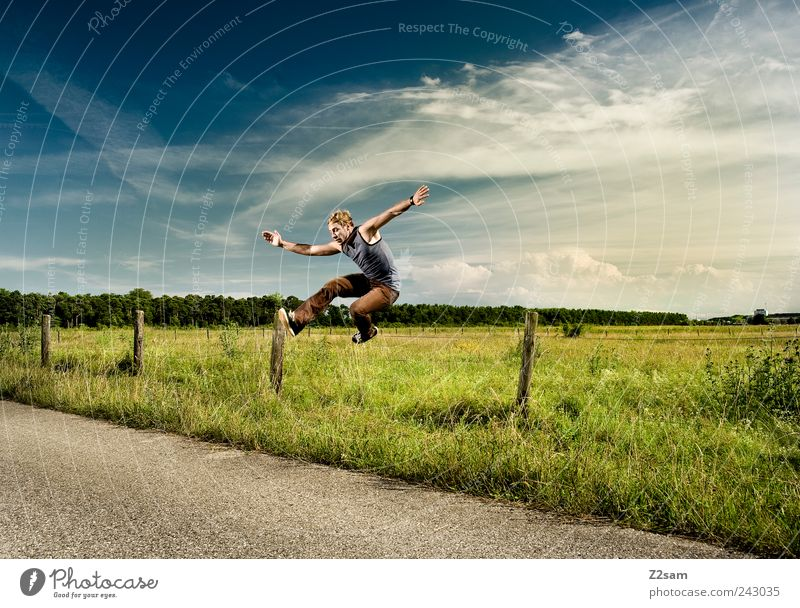 Human being Sky Nature Youth (Young adults) Adults Environment Landscape Movement Jump Style Power Blonde Flying Elegant Walking Masculine